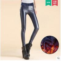 新款潮铅笔裤子弹力加厚女士pu长裤 加绒皮裤女紧身小脚裤