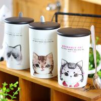 包邮 萌小猫创意陶瓷杯 可爱卡通咖啡杯 带盖带勺马克杯