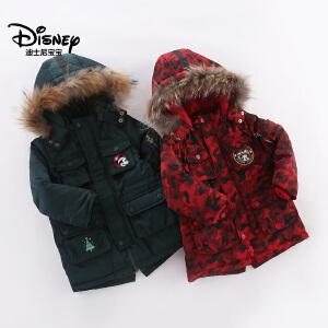迪士尼宝宝森林探险男童梭织潮酷中长款羽绒服2018冬款上新