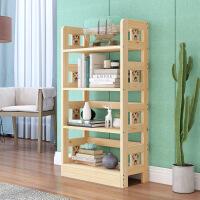 实木书架简易置物架现代简约创意落地学生多层小书柜书架
