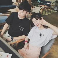 2018春夏新款情侣装夏装短袖T恤男风宽松黑白字T恤上衣女学生班服潮