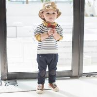 男童春装新款套装儿童拼接条纹休闲两件套0一3岁宝宝纯棉外出服潮