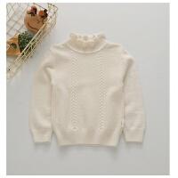 儿童羊绒衫白色打底衫木耳领女童羊毛衫秋加厚毛衣粉色黄色