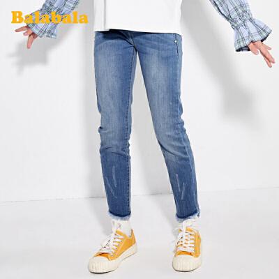 【7折价:111.93】巴拉巴拉童装女童裤子儿童春装2020新款中大童弹力修身牛仔裤时尚