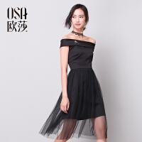【2件6折,叠加券】OSA欧莎秋冬新款女装一字肩黑色百搭显瘦收腰时尚连衣裙D13044