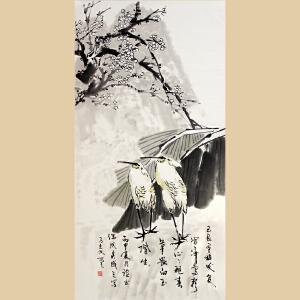 《花鸟寒梅双鹭图》马光汉-清华美院高研班班主任DBOML609