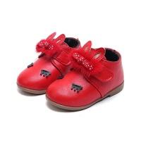 2017春秋新款靴子 女童短靴韩版二棉甜美公主鞋 小童皮鞋靴 红色 二棉薄绒 26码内长16.0cm