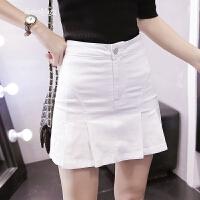 春夏季韩版牛仔半身裙女防a字裙高腰显瘦白色百褶裙短裙裤裙