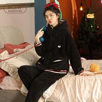 轩之婷 珊瑚绒睡衣女冬天宽松大码休闲可外穿加厚法兰绒套装家冬季家居服