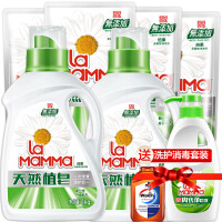 妈妈壹选天然皂液1kgx2+袋装补充装100gx3+内衣净300g+消毒水60mlx2