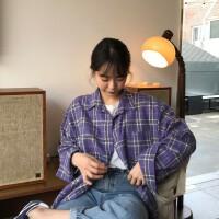 韩国chic 温暖的紫色 休闲宽松格纹格子长袖衬衫女春