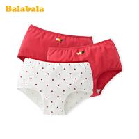 巴拉巴拉女童内裤棉平角春季新款女大童儿童短裤本命年红色3条装