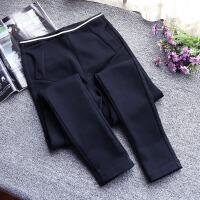 秋装新款女裤修身显瘦拼接撞色加绒黑色外穿大码打底裤小脚长裤
