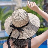 女士小清新度假沙滩帽 户外出游遮阳防晒帽子 大沿可折叠海边草帽子