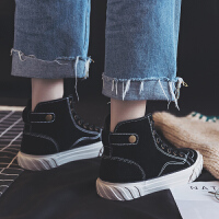 2018秋冬季新款ins马丁靴女短筒加绒短靴学生韩版百搭高帮棉鞋潮