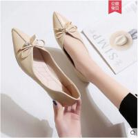 单鞋女春季新款韩版尖头平底鞋低跟豆豆瓢鞋百搭浅口淑女鞋子