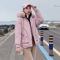 棉服 女士大毛领连帽植绒中长款棉服2019年冬季新款韩版时尚潮流女式宽松休闲女装外套