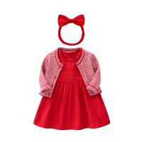 罗町女宝宝秋装新款超洋气女童公主裙幼儿0―3岁秋冬款周岁礼服连衣裙套装