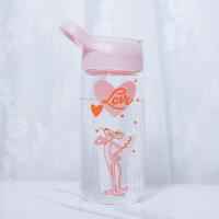 白领公社 个性玻璃水杯 创意情侣头像玻璃茶杯学院风单层玻璃杯女生便携玻璃杯 辫子女孩