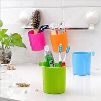 双庆 吸盘置物架带4个洗漱杯吸盘置物架厨房吸盘置物架浴室吸盘置物架收纳盒厨房收纳盒SQ5089