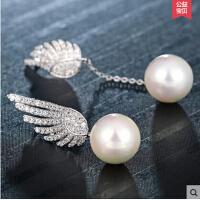 长款珍珠吊坠耳钉气质复古耳坠 925银韩国天使翅膀不对称耳环女款