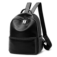 双肩包女韩版软皮学院风书包百搭大容量休闲旅行背包 黑色 黑色大号可装a4纸