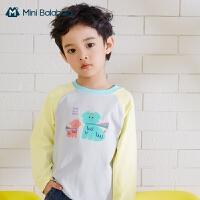 迷你巴拉巴拉儿童长袖T恤2021春男童女童弹力印花长袖T恤打底衫