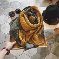 围巾女冬季韩版褶皱弹力装饰保暖围脖千鸟格格子防晒披肩两用丝巾