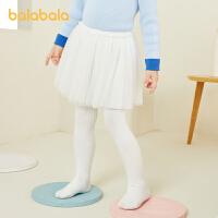 巴拉巴拉儿童袜子春季女小童棉袜长筒袜透气棉袜网纱裙连裤袜甜美