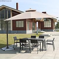 户外桌椅阳台休闲桌椅组合庭院子花园塑木防腐木铸铝露天室外桌椅 灰色拼花一桌六椅 配罗马伞