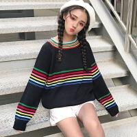 彩虹撞色条纹拼接长袖毛衣女韩国新款复古套头针织毛衫学生外套潮