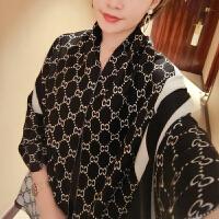 围巾女冬天长款韩版冬季双面英伦格子加厚披肩两用保暖围脖仿羊绒