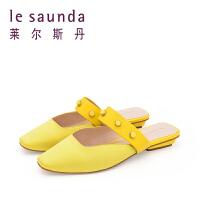 【12.12全场3折】莱尔斯丹 夏新款包头穆勒鞋平跟铆钉女一字带凉鞋 9M16702