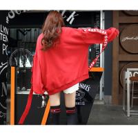 春夏季新款韩版红色套头圆领飘带薄款卫衣宽松学生风原宿上衣外套女 XX