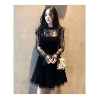 2019新款女装chic复古黑色网纱金丝绒连衣裙吊带a字裙套装两件套 黑色两件套