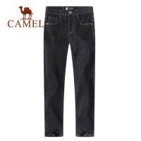 camel骆驼男装 夏季牛仔裤男黑色修身长裤韩版潮流休闲小脚男裤子
