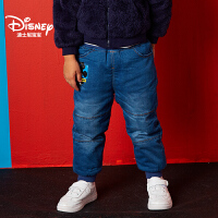 【到手价:99.6元】迪士尼宝宝童装中小童迪斯尼经典男童梭织牛仔夹棉长裤2018秋款上新