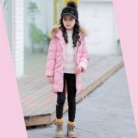童装女童棉衣2017新款装外套儿童中大童韩版中长款羽绒棉袄 粉红色 大厂出货