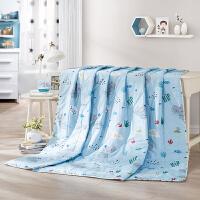 LOVO家纺 婴幼儿可用A类标准全棉卡通空调被夏被薄被 小河马爱洗澡全棉夏凉被