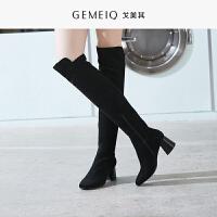 戈美其秋冬新款方头侧拉链粗高跟时装鞋女时尚甜美过膝长筒靴