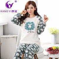香港康谊保暖珊瑚绒睡衣女秋冬季可爱卡通法兰绒睡衣女家居服套装
