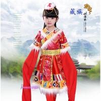 六一儿童藏族舞蹈服装演出服藏族水袖服饰西藏少数民族女童舞蹈服 红水袖
