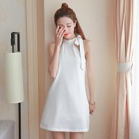 实拍夏装新款韩版性感挂脖吊带露肩连衣裙女装无袖白色短裙子