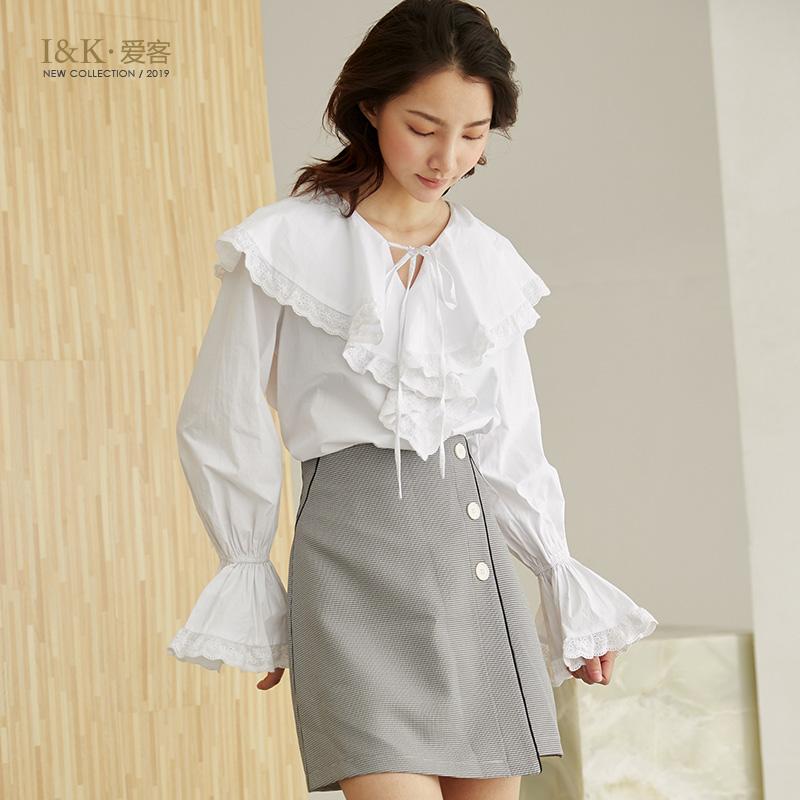 【3折到手价:90元】爱客白色雪纺衫2019春季新款纯棉宽松气质荷叶领喇叭袖上衣女