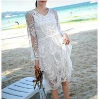 201808260750432492018新款韩国宽松长袖沙滩外套比基尼泳衣罩衫性感蕾丝长裙沙滩裙 均码