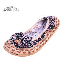 欣清老北京女碎花鞋舞蹈散步日常休闲居家舒适平跟妈妈鞋 帆布单鞋