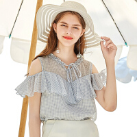 秋水伊人上衣2020夏装新款女装格纹系带领露肩荷叶边洋气直筒雪纺衫