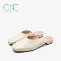 CNE2019春夏款拖鞋女外穿纯色方头深口平底穆勒鞋女拖鞋9T19502
