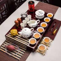唐诗白瓷茶博士套装功夫茶具套装家用整套简约实木茶盘茶壶