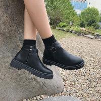 复古皮靴英伦加绒短靴马丁靴女冬新款百搭韩版学生黑色机车靴